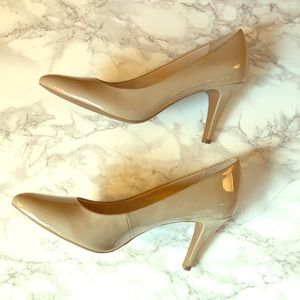 Franco Sarto Pointy Toe Nude Heels size 8